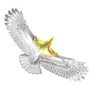 ウィングロック 頭金イーグル K18 × シルバー ルビー ダイヤ画像