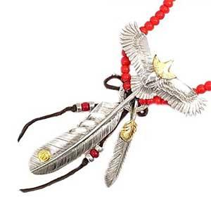 ケンキクチ 頭金イーグル ビーズ ネックレス画像