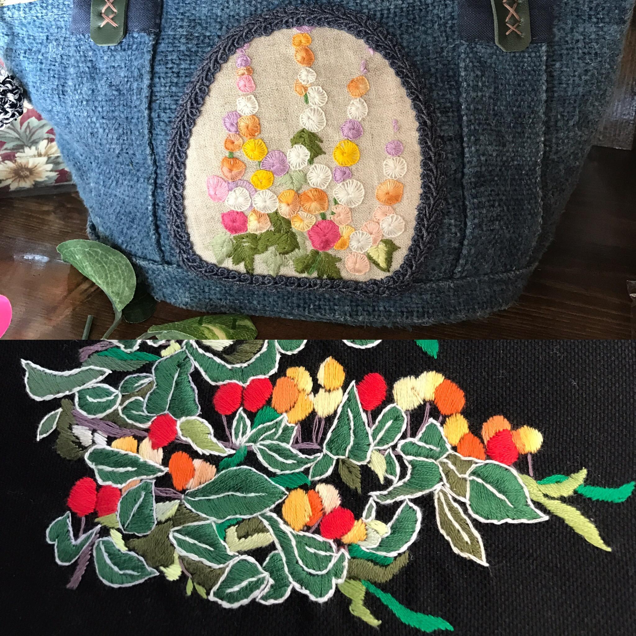 ミモザのワークショップ 刺繍バック
