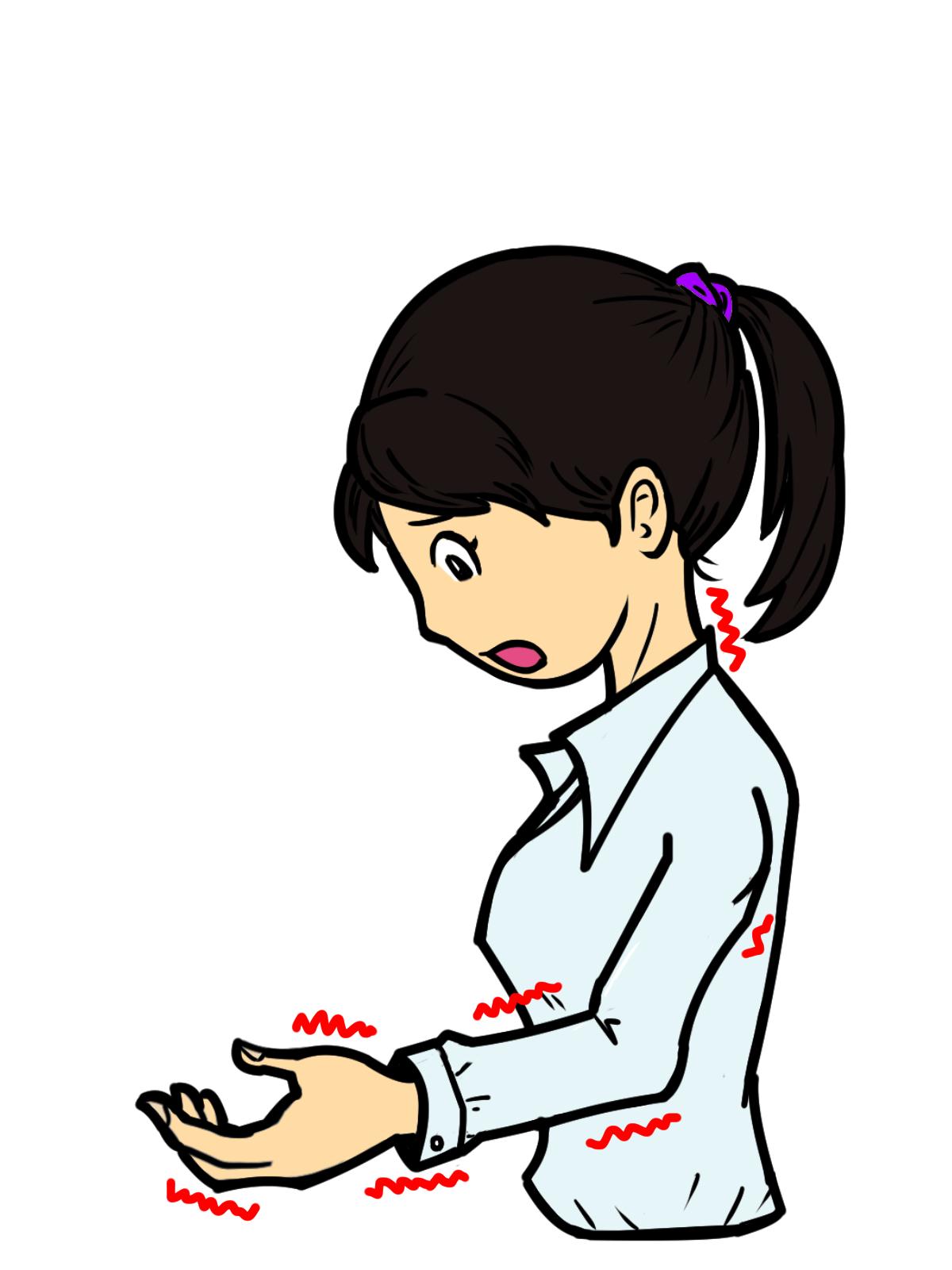 頸椎ヘルニアで手がしびれる女性