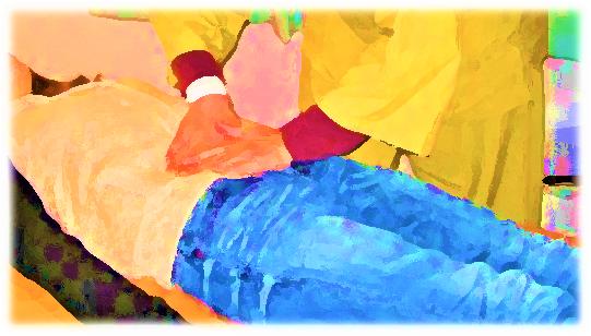 滋賀県近江八幡市整体月日快復所 腹部の施術