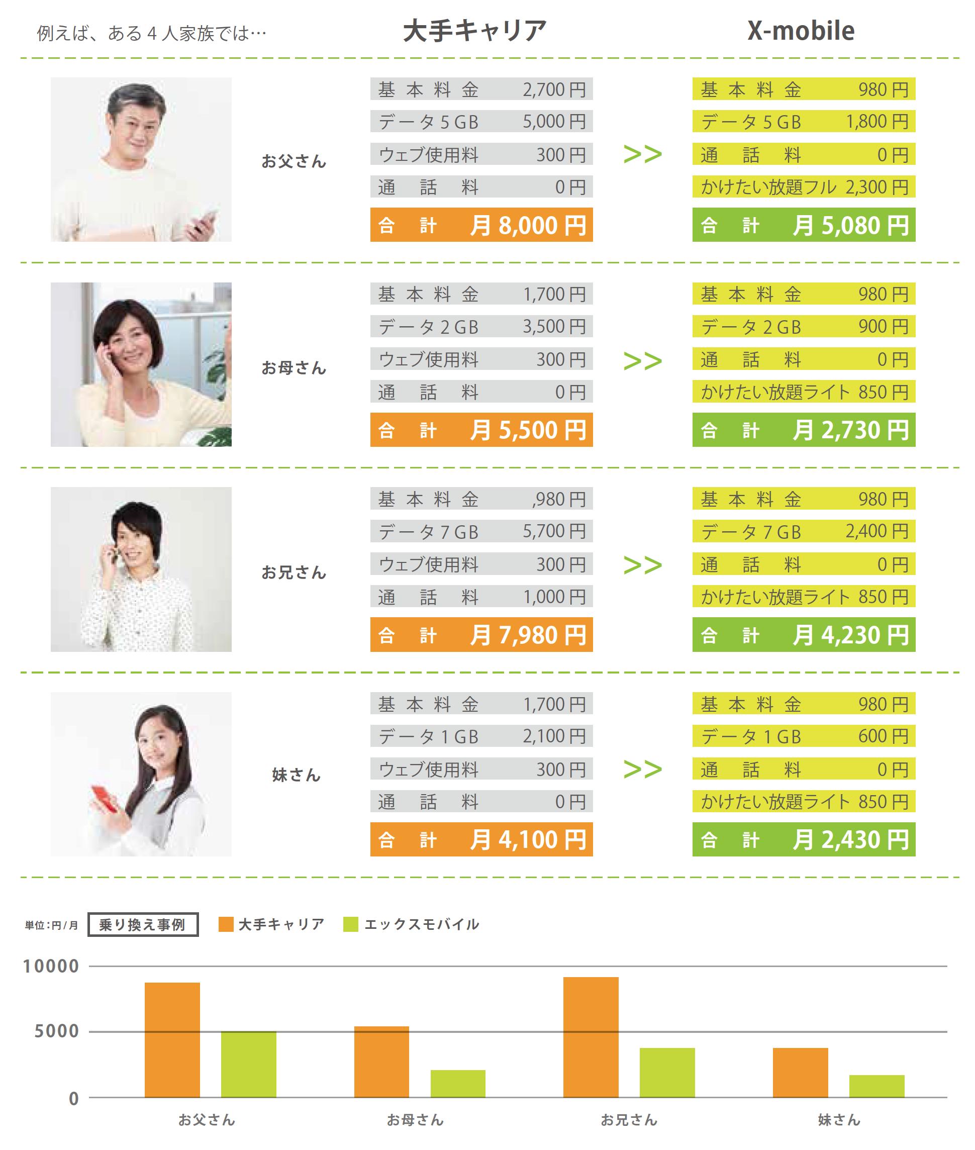 4人家族の節約例、グラフ