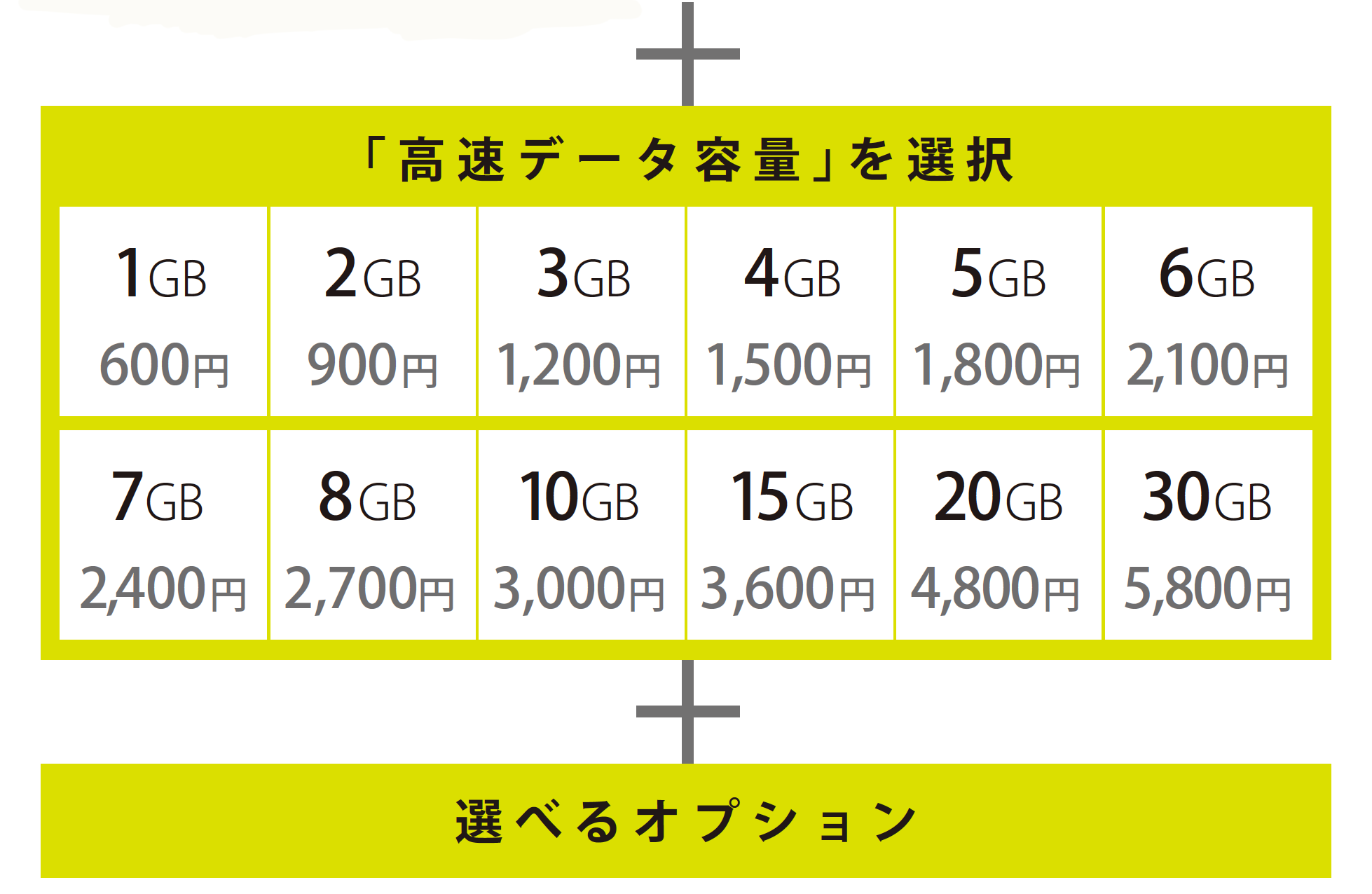 高速データプラン1G〜30GBの料金+選べるオプション料金