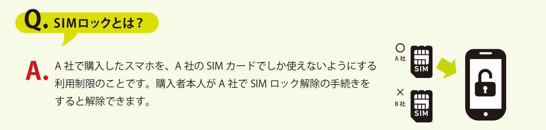 Q. SIMロックとは?A.A 社で購入したスマホを、A 社のSIM カードでしか使えないようにする 利用制限のことです。購入者本人がA 社でSIM ロック解除の手続きを すると解除できます。