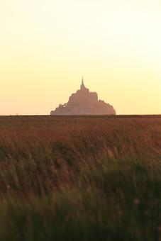 畑越しに望むモン・サン・ミッシェル3の写真
