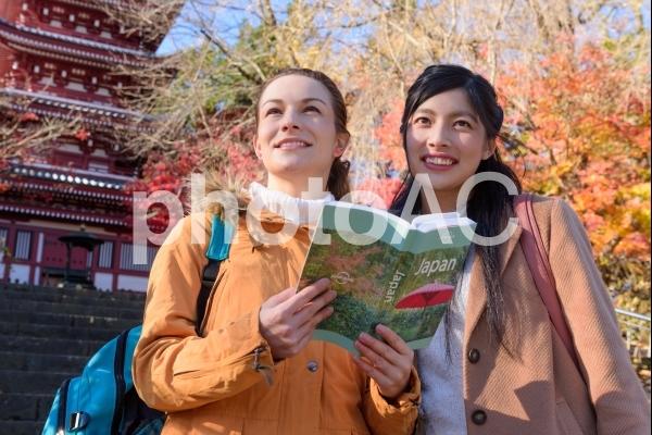 秋のお寺にいる外国人観光客7の写真
