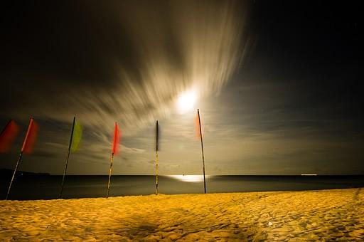 浜辺に立つフラッグ2の写真