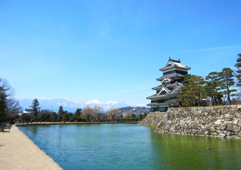 松本城と常念岳の写真
