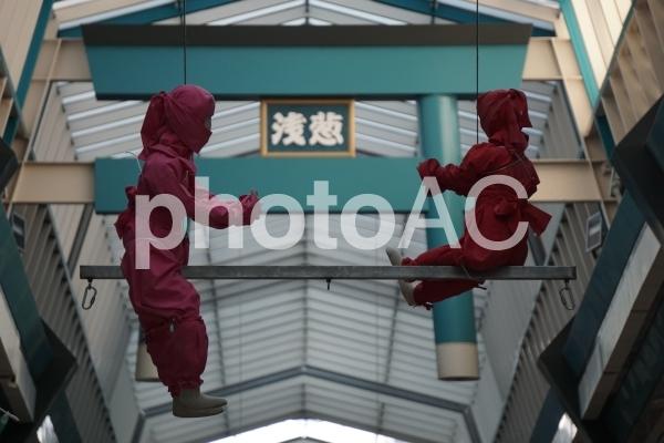 天神橋商店街の忍者の写真