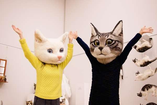 佐藤法雪さんによるリアル猫ヘッドアートプロジェクト=実行委員会提供