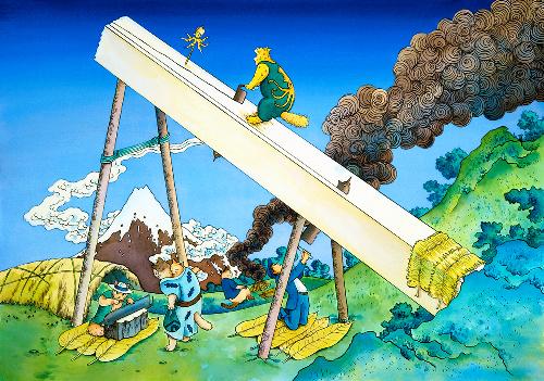 「遠江山中(富嶽三六景)」(2009年)©ますむら・ひろし