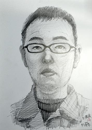 内藤さんが描いた自画像のデッサン