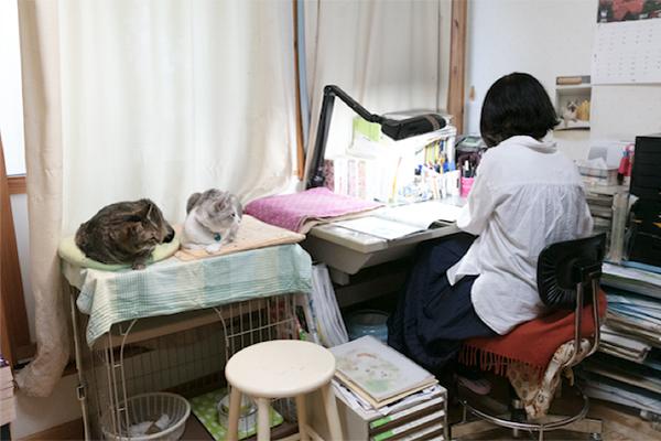 自由に出入りできる仕事場の特等席で、作画を見つめる「ちゃくろん」と「チカ」。「時々3・4匹が机にのってしまうことがありますが、そんな時は画板で作業しています(笑)」