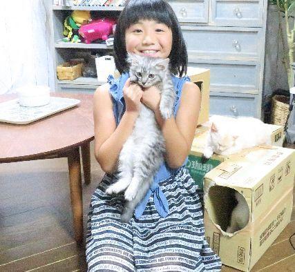 ふわふわ小源太と2ショット(保護の子猫には「小」のついた仮名をつけている)