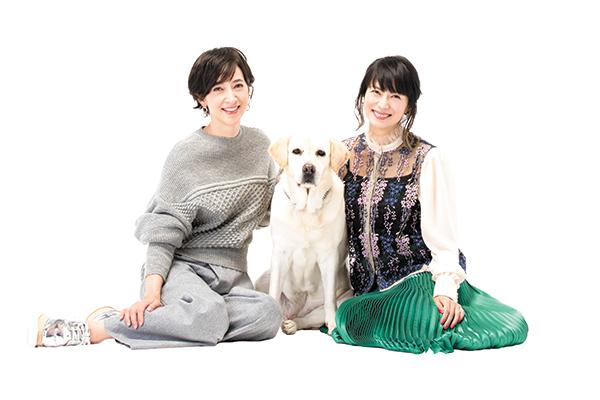 滝川クリステルさん(左)と愛犬アリス、柴咲コウさん