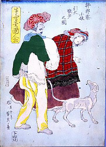 洋犬を散歩させるフランスの女性を描いた歌川貞秀の横浜絵=横浜開港資料館所蔵