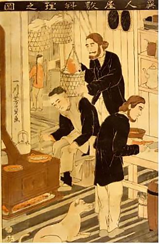 異人屋敷の台所でくつろぐ洋犬の横浜絵=横浜開港資料館所蔵