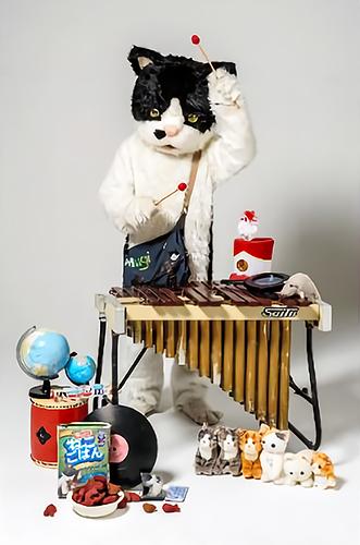 ミニコンサートを行う「むぎ」(猫)さん=ちよだ猫まつり実行委員会提供