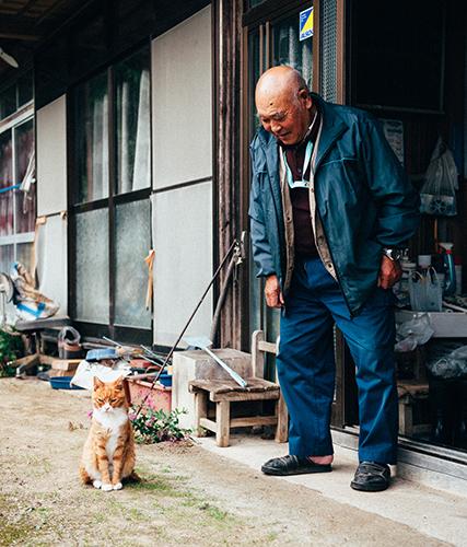 一時帰宅した飼い主のそばを離れないマメ(2012年10月22日撮影)