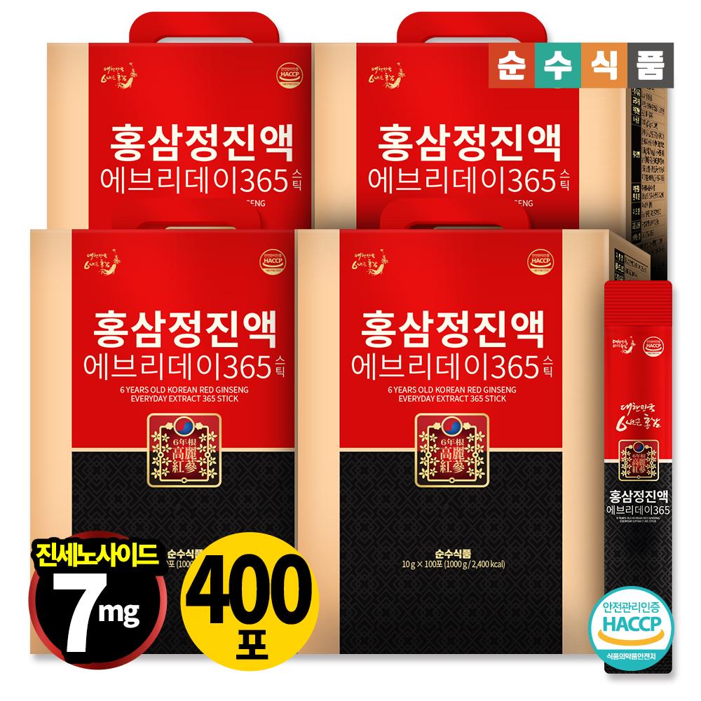 순수식품 6년근 홍삼 진액 에브리데이 365 400포(총 4박스) 홍삼정 홍삼스틱