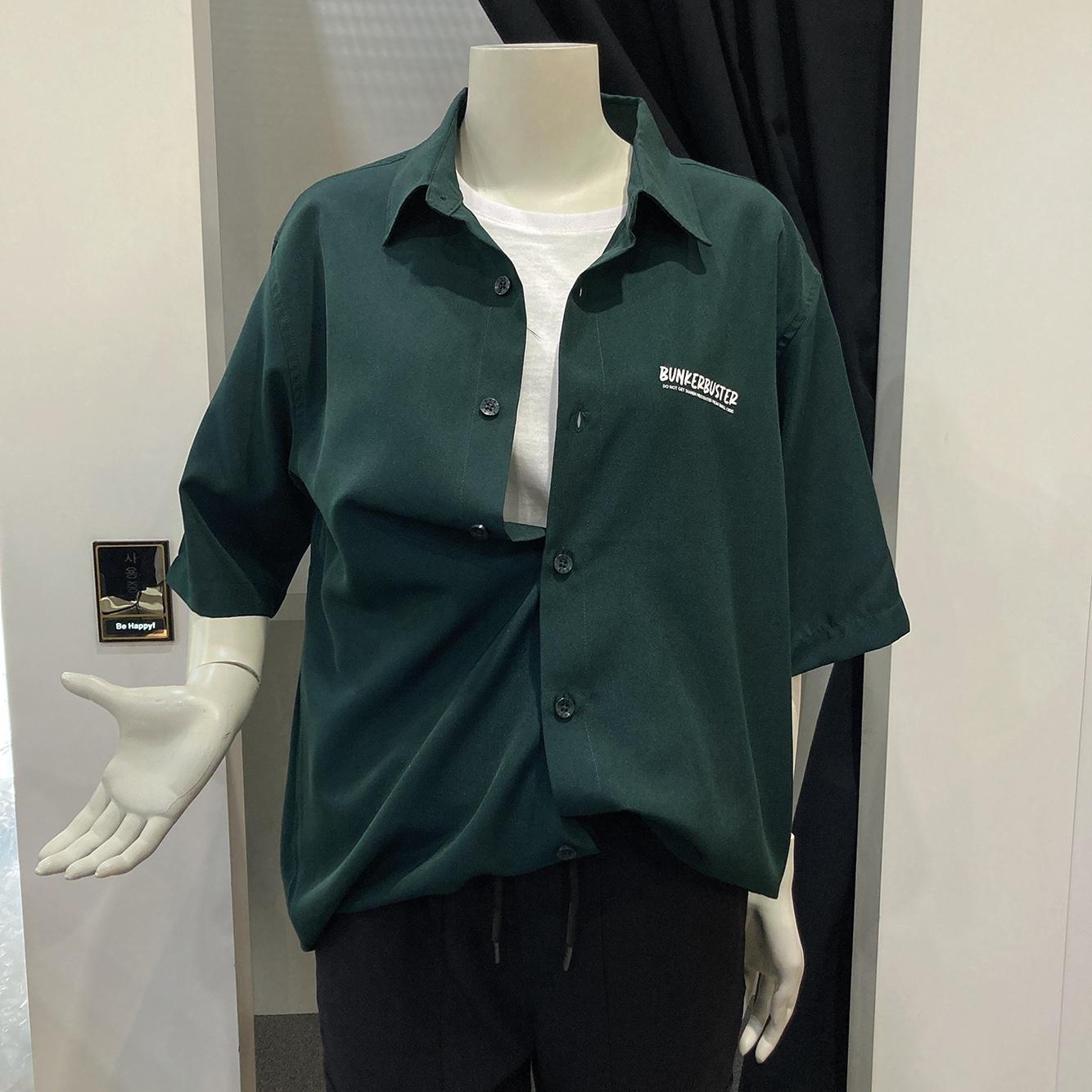 써드케이 엠할리데이 남녀공용  등판 전사 반팔 셔츠(ml2-yu349)