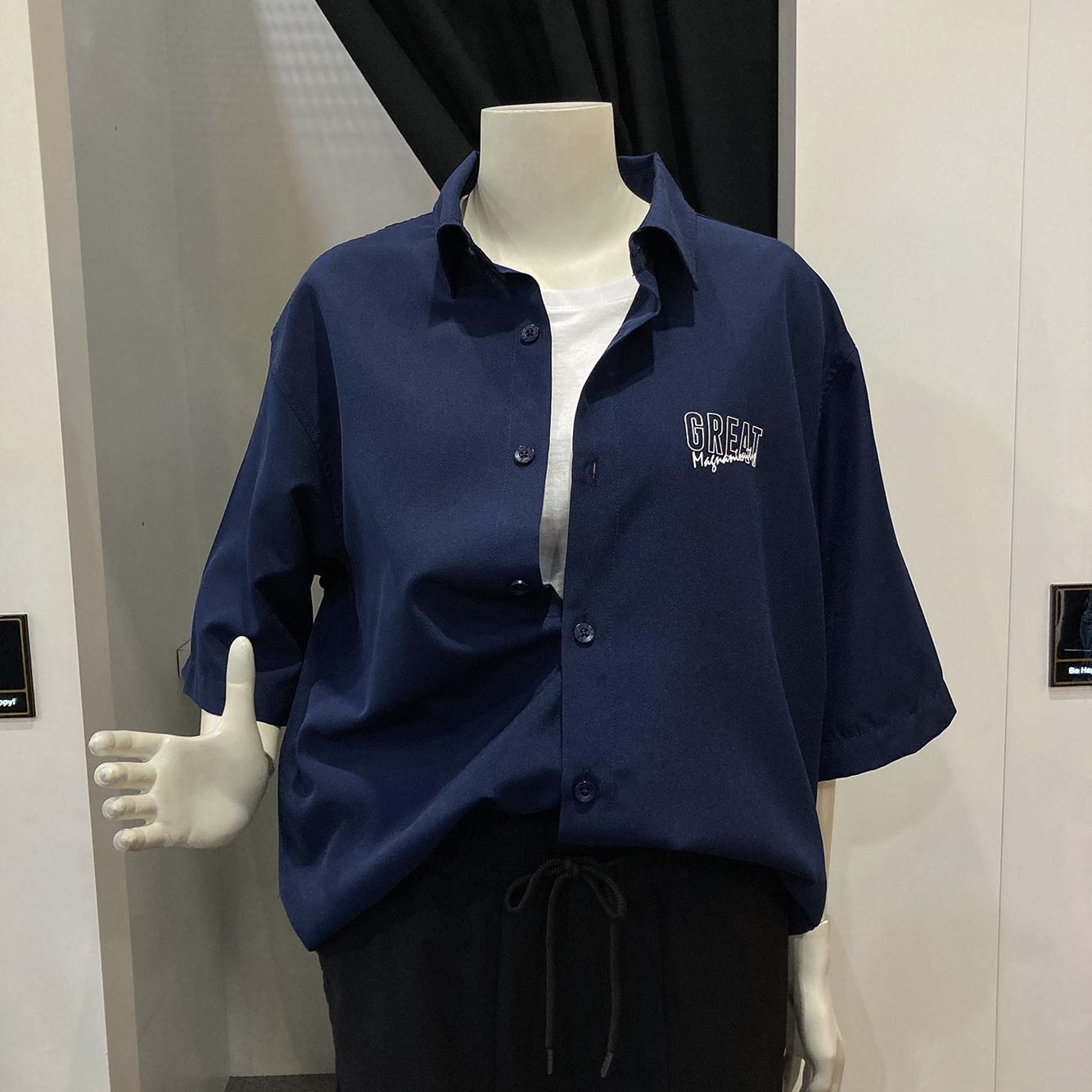 써드케이 엠할리데이 남녀공용  등판 전사 반팔 셔츠(ml2-yu351)