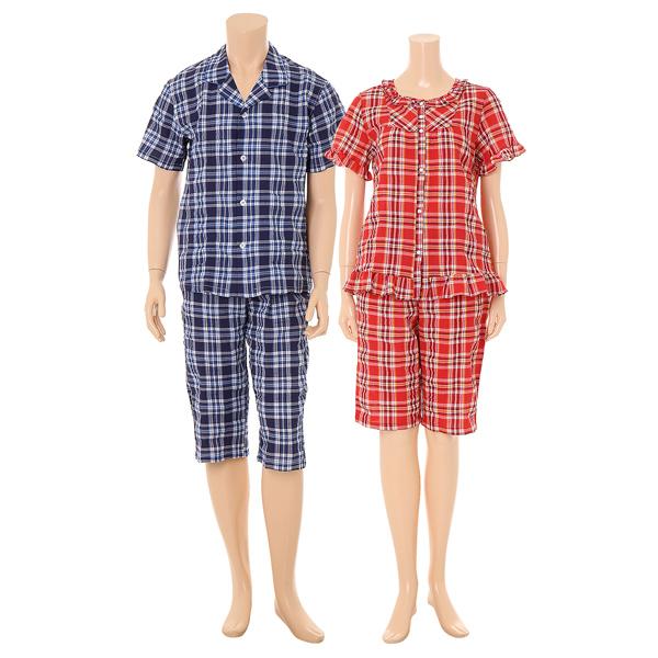 면폴리 주름지 선염 체크 반팔잠옷 (VPA4133WM)