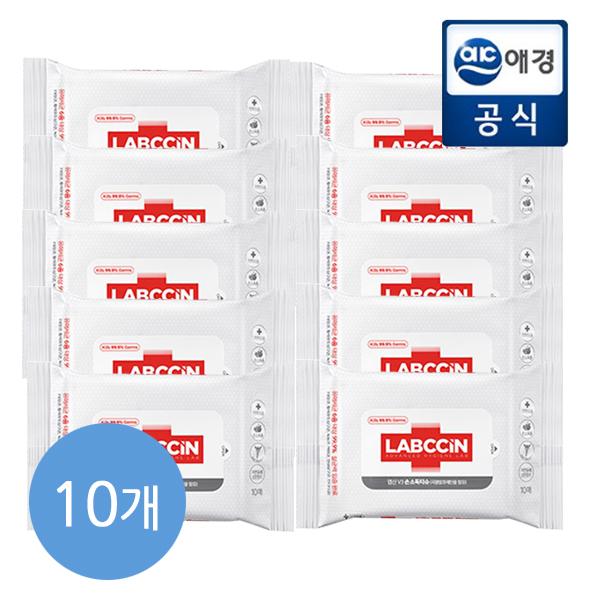 애경 랩신 V3 세니타이저 손소독 티슈 10매 x 10팩