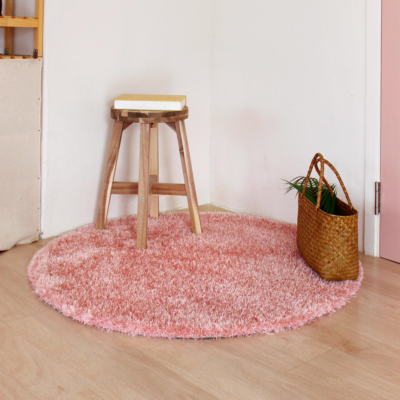 [핸드메이드 국내제작] 포근포근 코튼캔디 샤기 러그카페트 핑크(100cm원형) 아이방 포인트러그