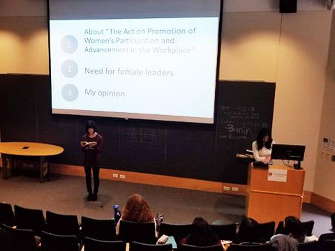 ハーバード大学でのプレゼンテーション本番の風景