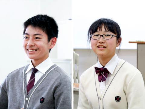 バスケ部の部長として活躍する迫田瞬佑くん(左)と、車人形同好会と中学理科部の2つの部長を務める伊藤璃紗さん(右)
