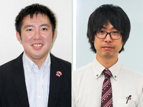 「生徒には疑問をたくさん持ちながら学習に励んでほしい」と地理担当の波平慎太郎先生(左)。理科担当の本道佳明先生(右)は「興味から行動に繋げる力を身につけてほしい」と話す。