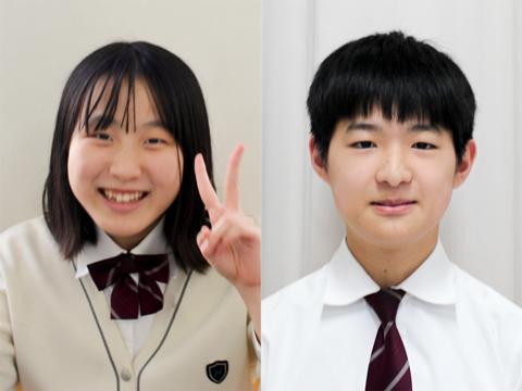 「中学の思い出は体育祭や合唱コンクール」と答える富崎さん(左)と「ライバルと呼べる友だちができた」と頼もしい井口くん(右)。