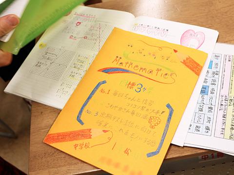髙城先生の数学授業を受けているKさんのオリジナルノートはとってもカラフル。