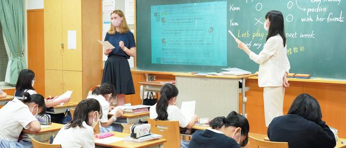 ティームティーチングの英語授業が充実 女子聖の中1英語