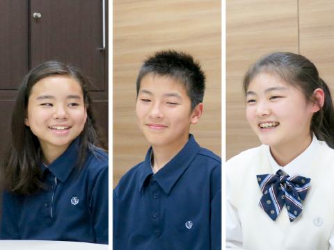 明るく元気にインタビューに答えてくれた(左から)中学生のOさん、Kさん、高校生のSさん。