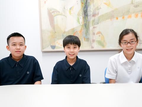 (左から)2科入試で合格した安原くん、算理入試で合格した中島くん、佐藤さん。