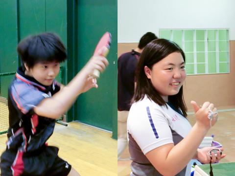 卓球部で活躍する兒嶋さん(左)と競技水泳部に所属する加藤さん(右)