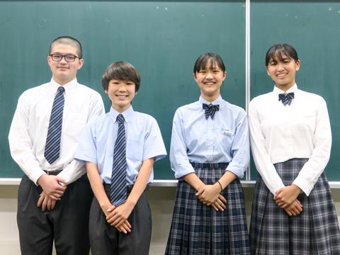 写真左から、柔道部の野城風輝くん、鉄道研究会の西村陸くん、女子バスケットボール部の緒方祈璃さん、陸上部の松本実咲さん。