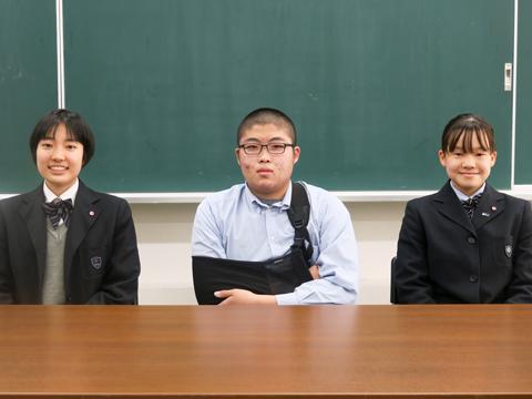 写真左から、中学3年生の鈴木珠乃さん、中学2年生の幸山慶徳くん、中学1年生の藤田向日葵さん。