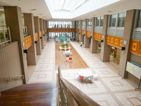 アトリウム 本館に入ってすぐ目の前に広がるのは、吹き抜けから太陽光が降り注ぐ明るいアトリウム。2階に上がると職員室があり、その周りには自習スペースが用意されています。
