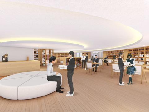 調べもの学習の拠点としての役割が期待されている新図書館完成イメージ図(2021年9月完成予定)