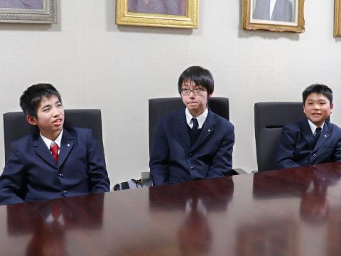 左から中学2年 島田 喜輝くん、中学2年 小窪 碧くん、中学2年 中島 康成くん