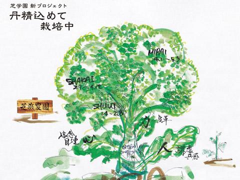 校長の武藤道郎先生が、芝で育つ生徒をブロッコリーに見立てた絵