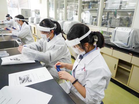東京薬科大学での実習体験の様子。「最初は恐る恐るだった生徒たちも徐々に慣れて、真剣に取り組んでいます」と中村先生