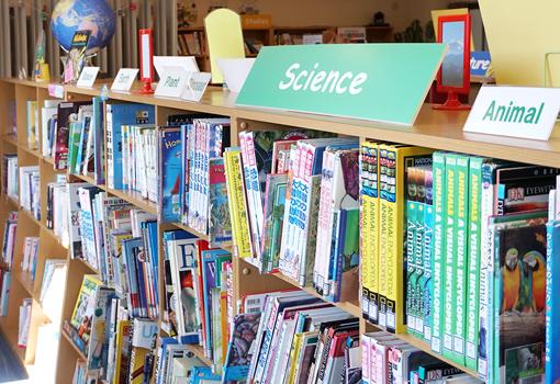 和書、洋書どちらも一緒に並んでいる本棚