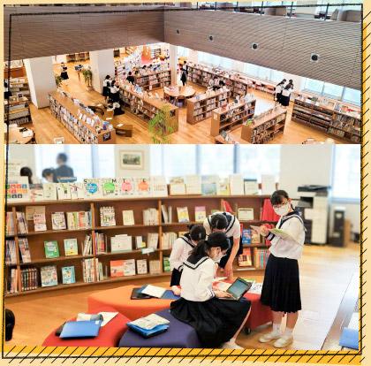 広々とした図書館で「数学探究」。黄金比・白銀比の計測をします