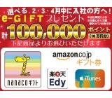 コンビニやネットで使えるe-GIFT!10万円分プレゼント