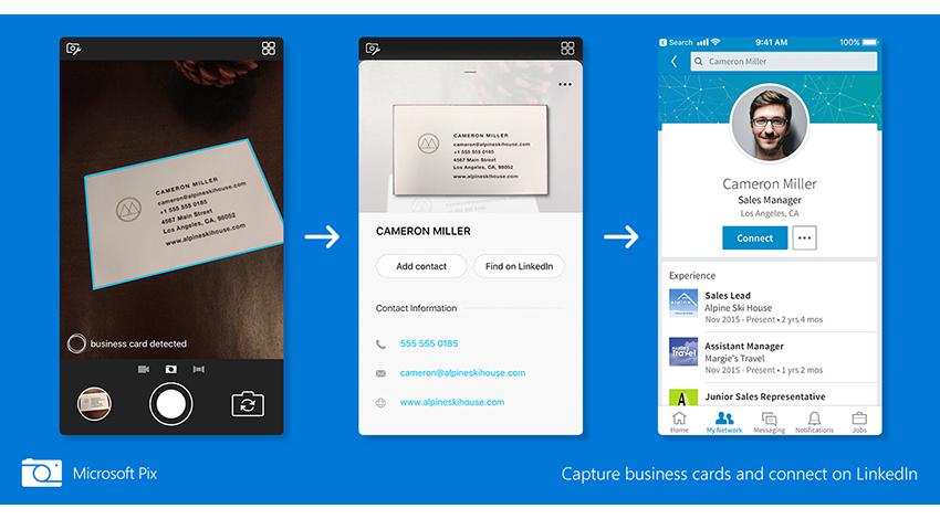 マイクロソフト、AIカメラアプリ「Microsoft Pix」にLinkedInと連携する機能を追加
