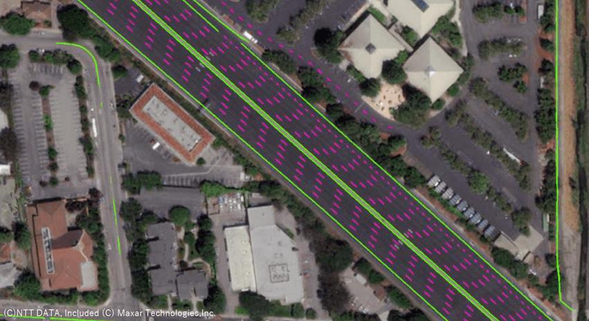 自動車や影といった不必要な情報を除去・補正し、地図生成に必要な情報を抽出した後の画像